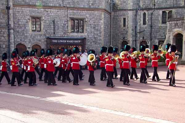 Band of the Irish Guards providing musical support for the Windsor Castle Guard Change