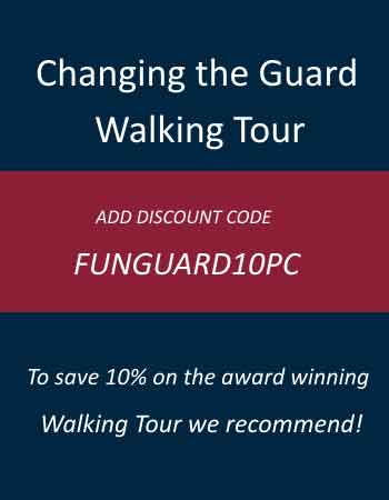 "Advert for Flun London Tours ""Changing the Guard Walking Tour"""