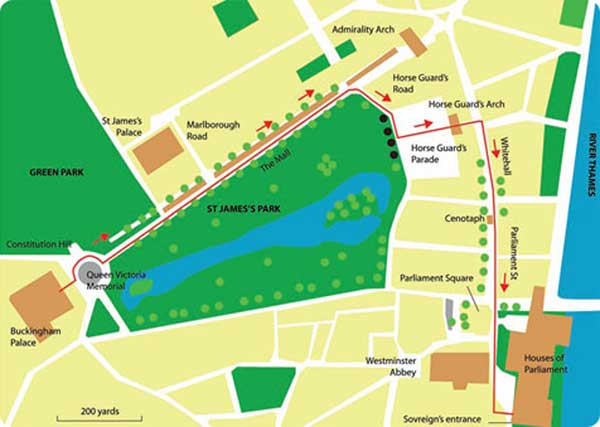 Royal route from Buckingham Palace to the Palace of Westminster
