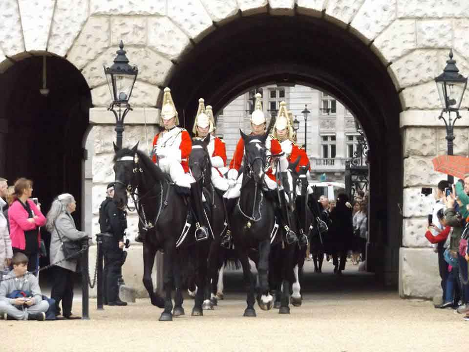 Life Guards riding onto Horse Guards Parade