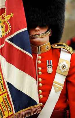 Ensign carrying the Coldstream Guards Regimental Colours