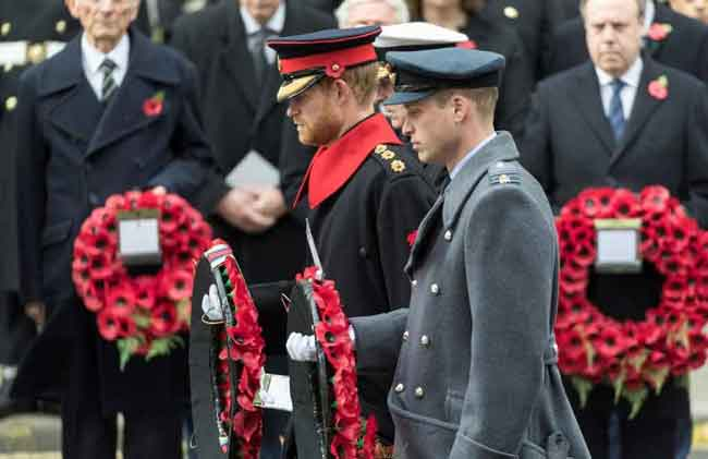 Prince's William and Harry laying a wreath at the Cenotaph