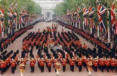 The Queen in the Mall leading Her Guards back to Buckingham Palace after Trooping the Colour
