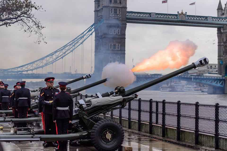 Gun Salute being fired by the Honourable Artillery Company on the Gun Wharf at the Tower of London