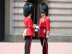 Handing over the resonsibility for guarding Buckingham Palace