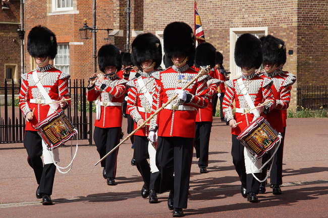 Weslh Guards Band march out of St James's Palace