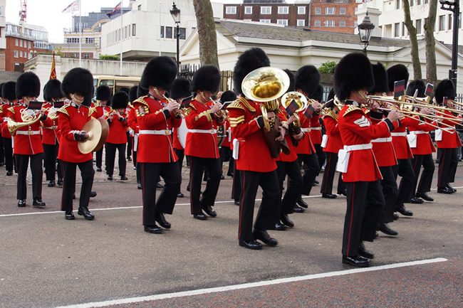 Band of the Scots Guards leave Wellington Barracks