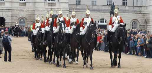 The Queen's Life Guard chnage on Horse Guards Parade