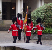 Scots Guards Colours being escorted from the Guards Chapel