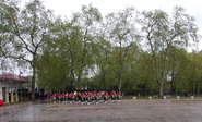 Band of the Royal Regiment of Scotland return in the rain to Wellington Barracks