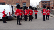 Grenadier Guards asemble for pre-inspection, inspection.