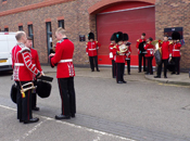 Irish Guards Band relaxing before inspection