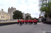 Band of the Irish Guards leading the Old Guard back down Castle Hill