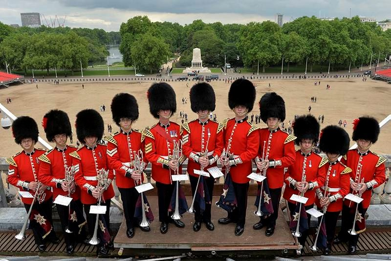 Bandsmen from the Coldstream Guards with the hallowed ground of Horse Guards Parade behind