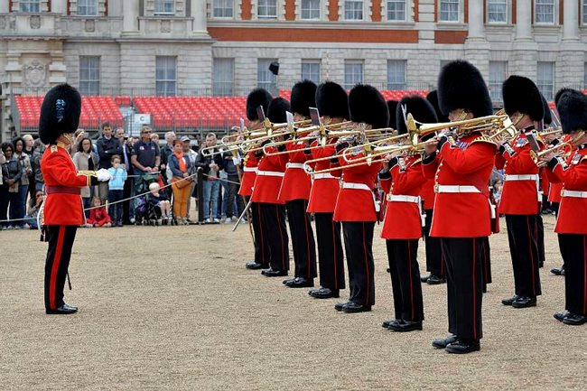 Household Division Bandsmen playing at the press launch for Beating Retreat