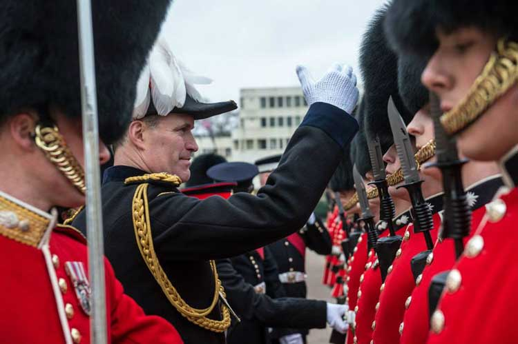 Major General Edward Smyth-Osbourne inspects inspects Nijmegen Company Grenadier Guards