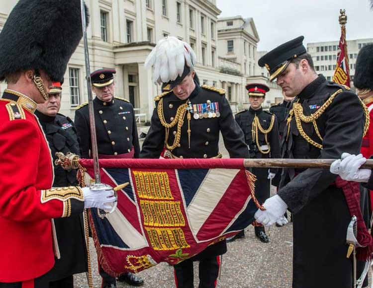 Major General Commanding The Household Division and London District, Major General Edward Smyth-Osbourne, inspects Nijmegen Company Grenadier Guards, Colours.