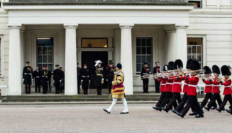 The Band of the Coldstream Guards March past