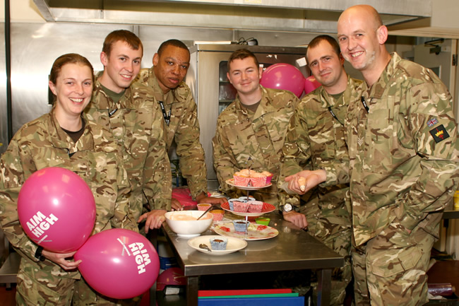 Soldiers took part in the Great Pink Bake Off