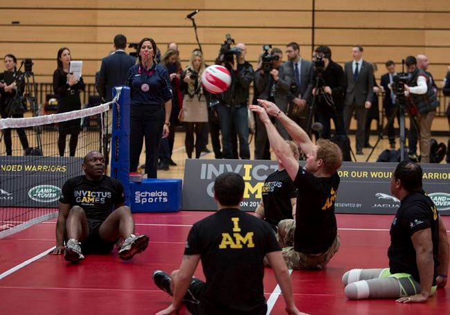 Prince Harry playing sitting volley ball