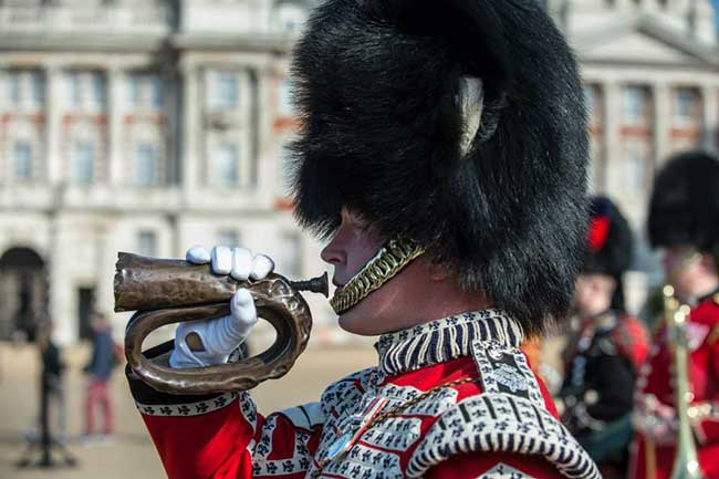 Battle of Waterloo bugle on parade