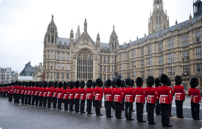 Guards drawn up outside the Palace of Westminster