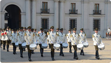 Changing the Guard at La Moneda Palace, Santiago, Chile