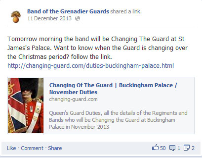 Facebook post from the Band of the Grenadier Guards