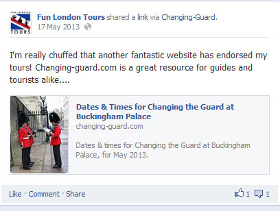 Facebook post from Fun London Tours