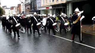 Royal Navy & Band of the Royal Marines marching to Windsor Castle