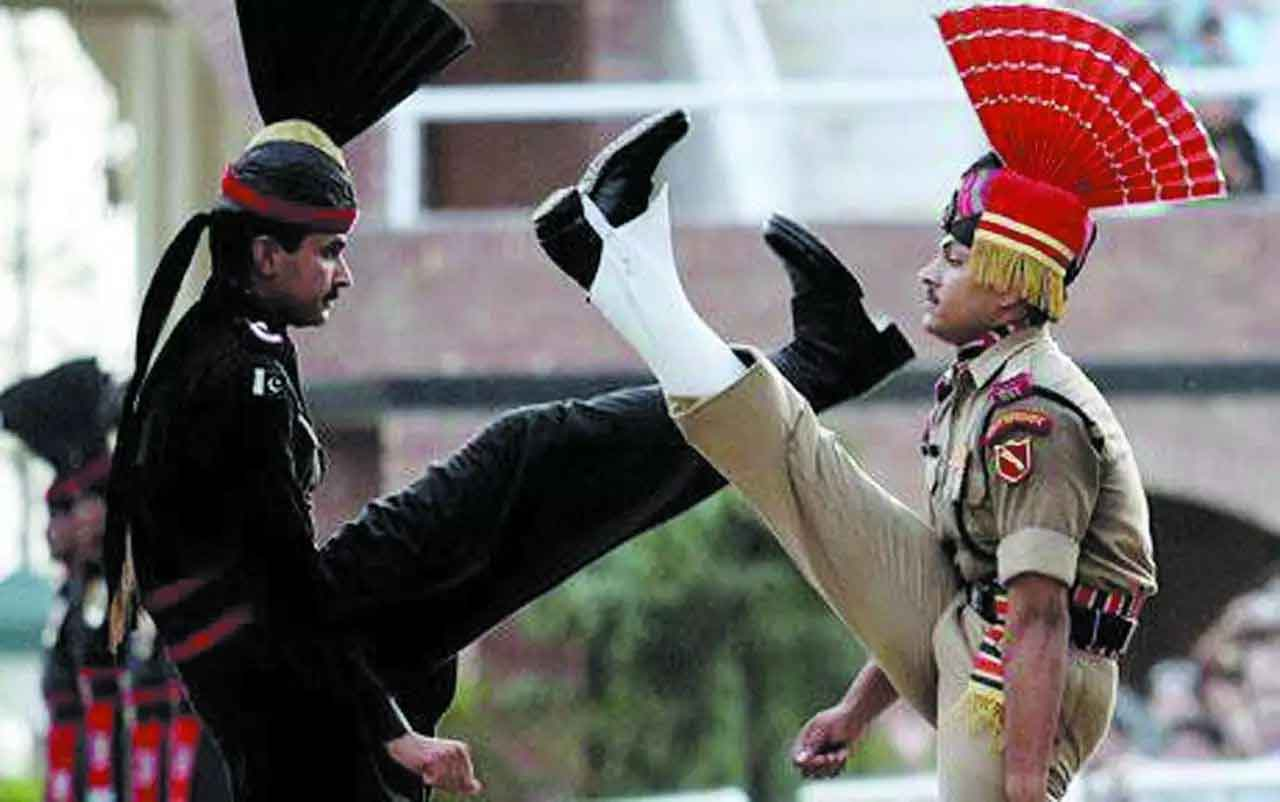Beating Retreat Ceremony at Wagah, India